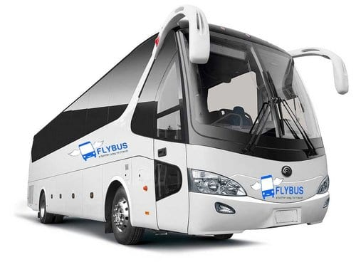 Flybus bus hire fleet 55 seater coach white color